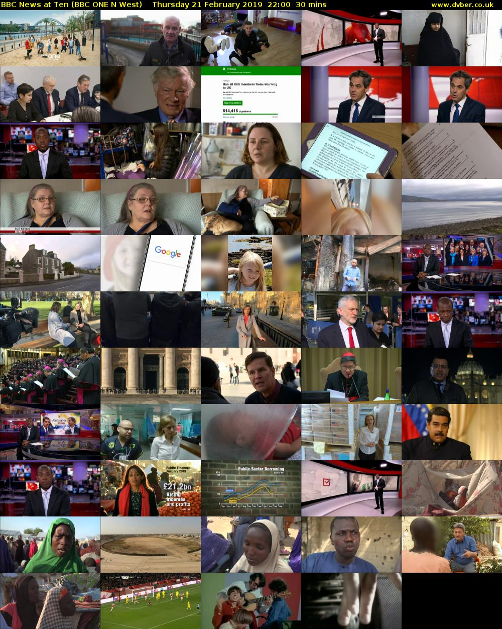 BBC News at Ten (BBC ONE N West) Thursday 21 February 2019 22:00 - 22:30