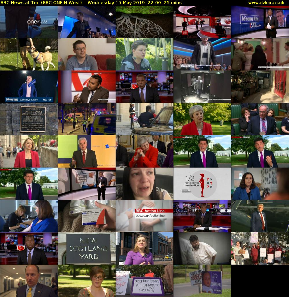 BBC News at Ten (BBC ONE N West) Wednesday 15 May 2019 22:00 - 22:25