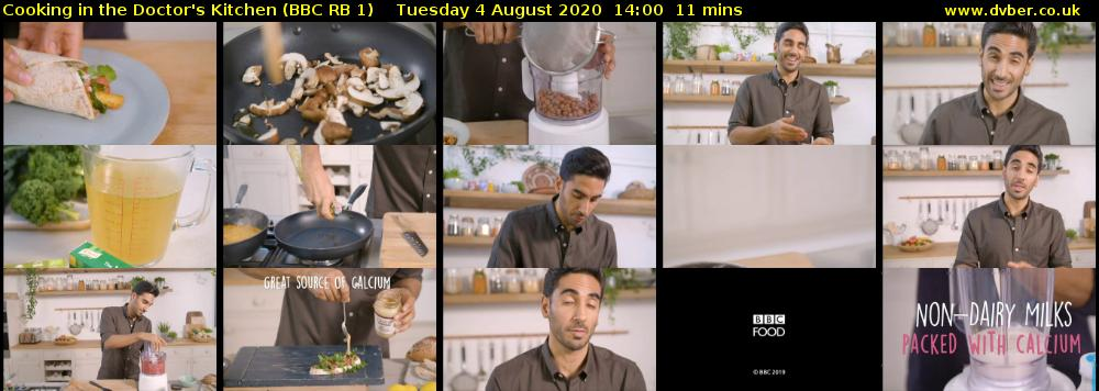 Cooking in the Doctor's Kitchen (BBC RB 1) Tuesday 4 August 2020 14:00 - 14:11