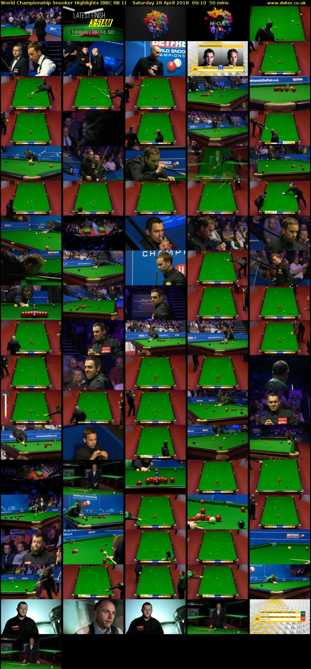 World Championship Snooker Highlights (BBC RB 1) Saturday 28 April 2018 09:10 - 10:00