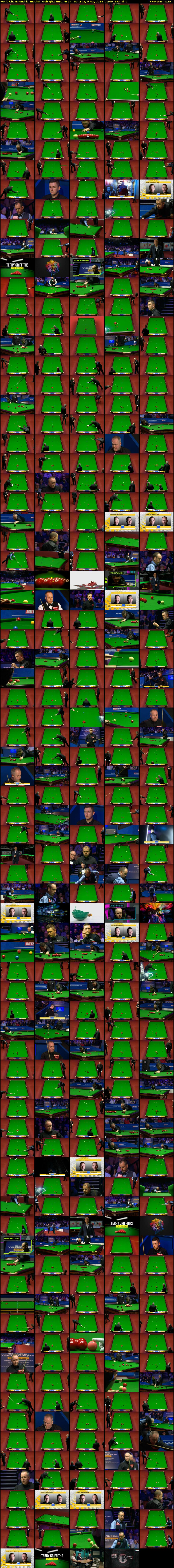 World Championship Snooker Highlights (BBC RB 1) Saturday 5 May 2018 06:00 - 09:55