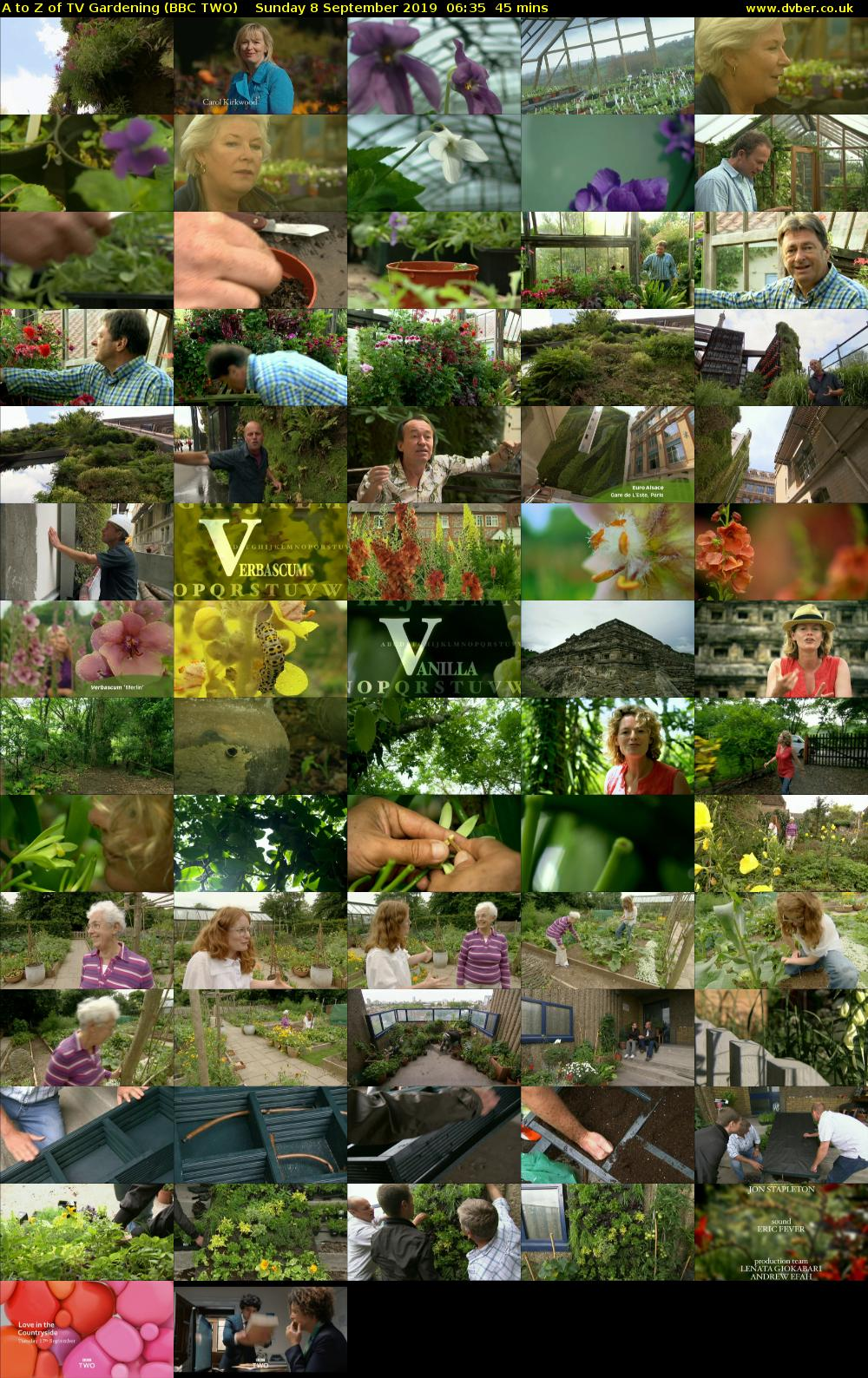 A to Z of TV Gardening (BBC TWO) Sunday 8 September 2019 06:35 - 07:20