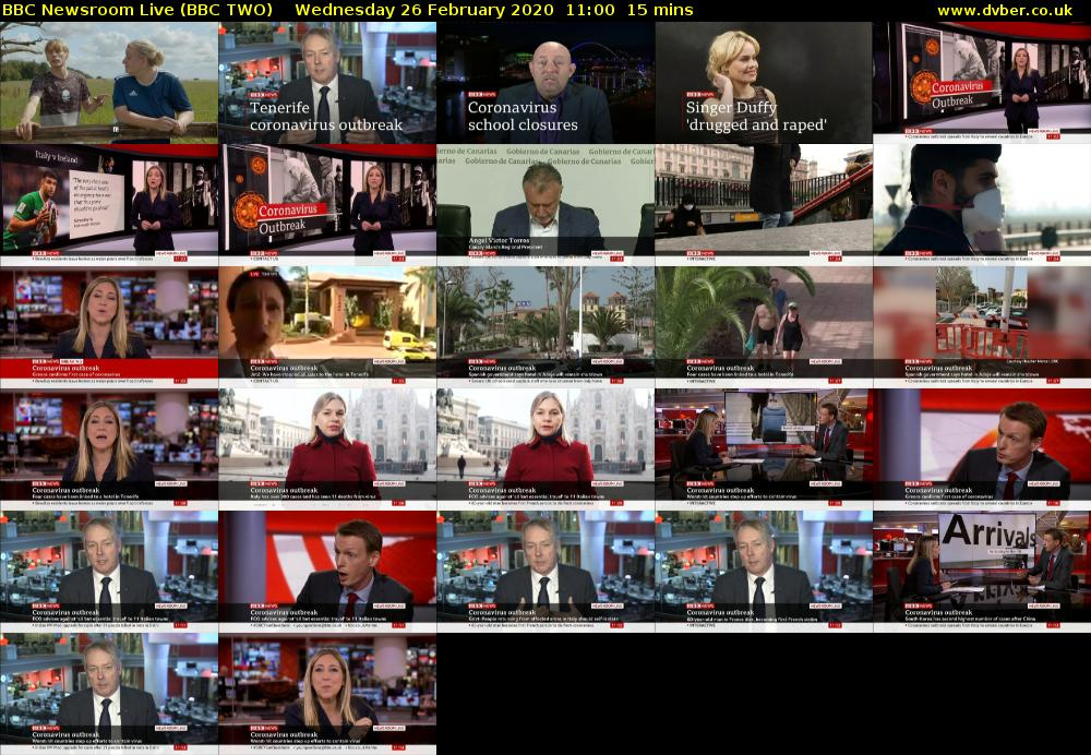 BBC Newsroom Live (BBC TWO) Wednesday 26 February 2020 11:00 - 11:15