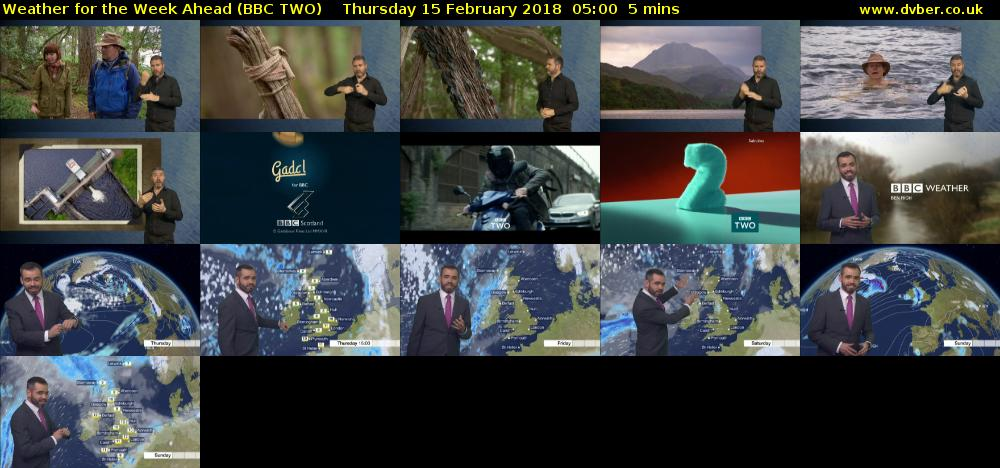 Weather for the Week Ahead (BBC TWO) Thursday 15 February 2018 05:00 - 05:05