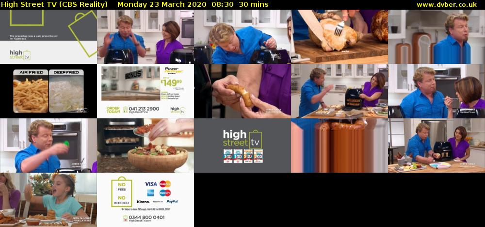 High Street TV (CBS Reality) Monday 23 March 2020 08:30 - 09:00