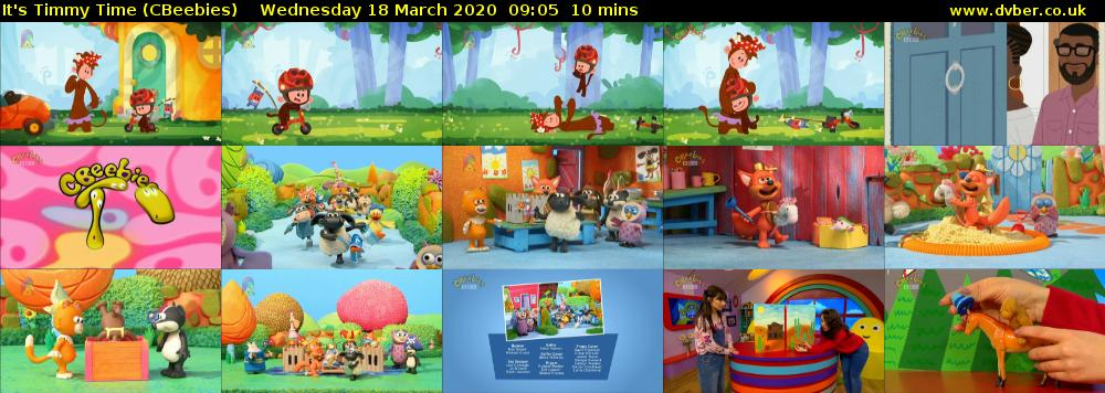 It's Timmy Time (CBeebies) Wednesday 18 March 2020 09:05 - 09:15