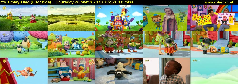 It's Timmy Time (CBeebies) Thursday 26 March 2020 06:50 - 07:00