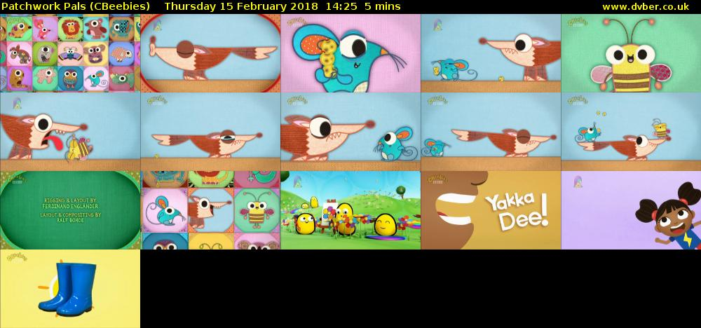 Patchwork Pals (CBeebies) Thursday 15 February 2018 14:25 - 14:30