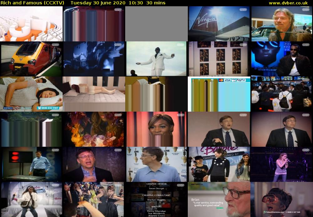 Rich and Famous (CCXTV) Tuesday 30 June 2020 10:30 - 11:00