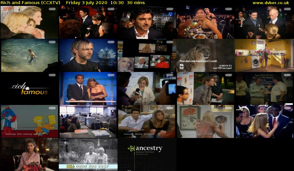 Rich and Famous (CCXTV) Friday 3 July 2020 10:30 - 11:00