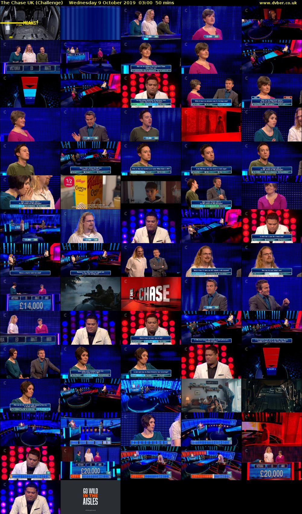 The Chase UK (Challenge) Wednesday 9 October 2019 03:00 - 03:50