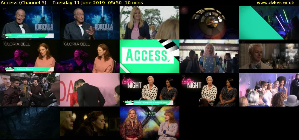 Access (Channel 5) Tuesday 11 June 2019 05:50 - 06:00