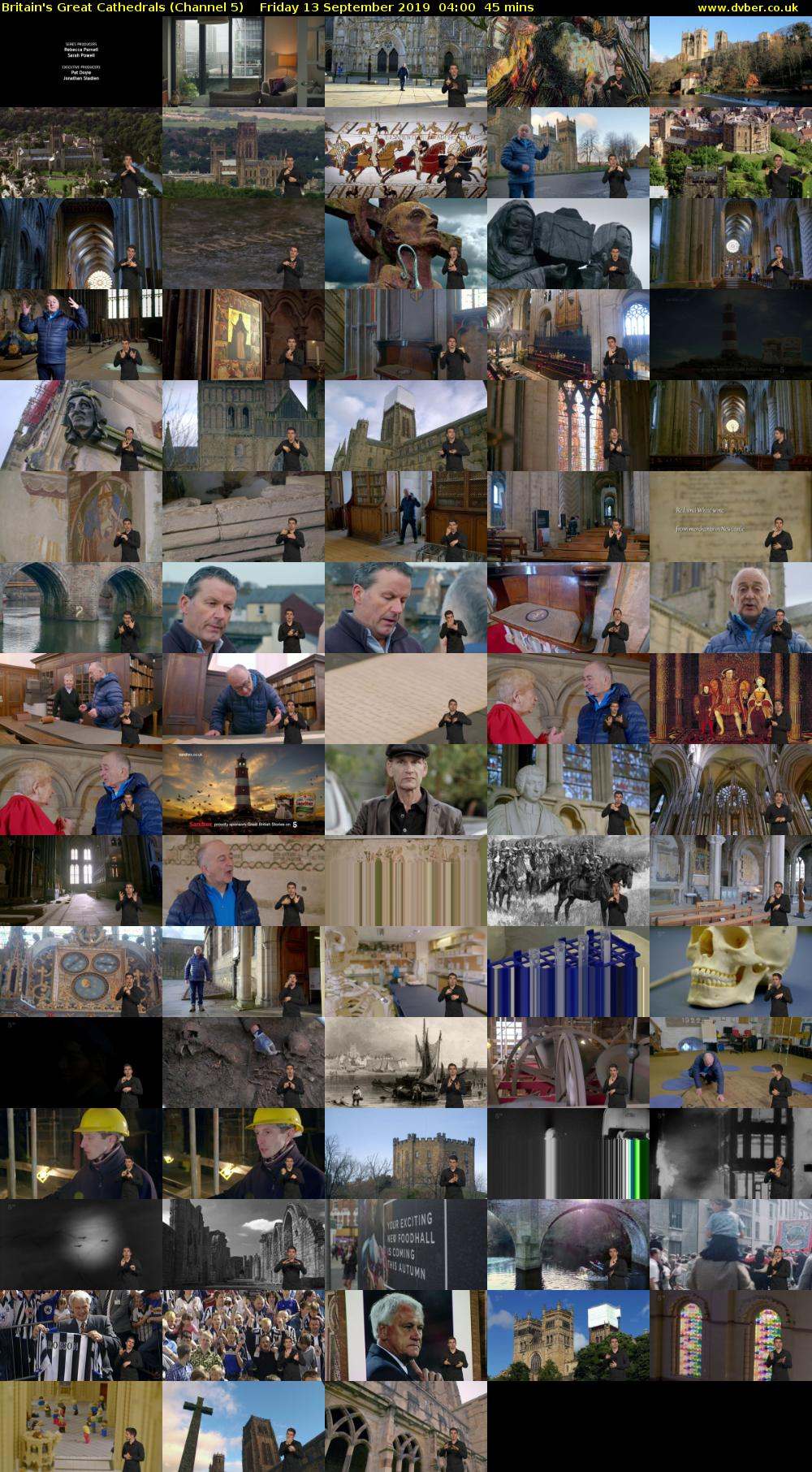 Britain's Great Cathedrals (Channel 5) Friday 13 September 2019 04:00 - 04:45