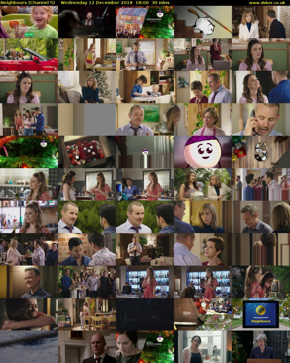 Neighbours (Channel 5) Wednesday 12 December 2018 18:00 - 18:30