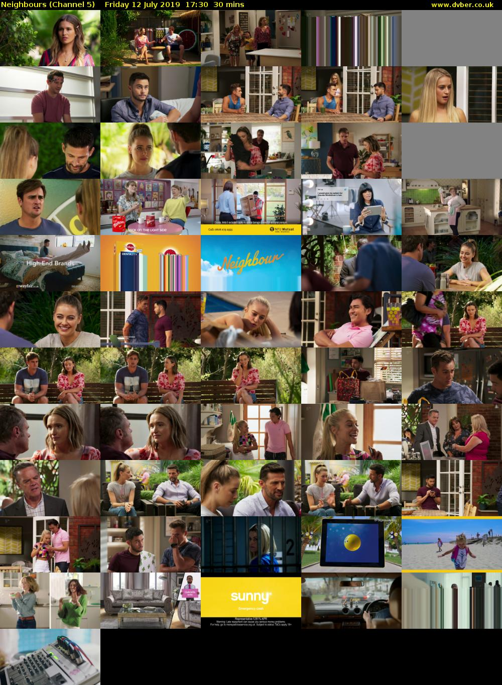 Neighbours (Channel 5) Friday 12 July 2019 17:30 - 18:00