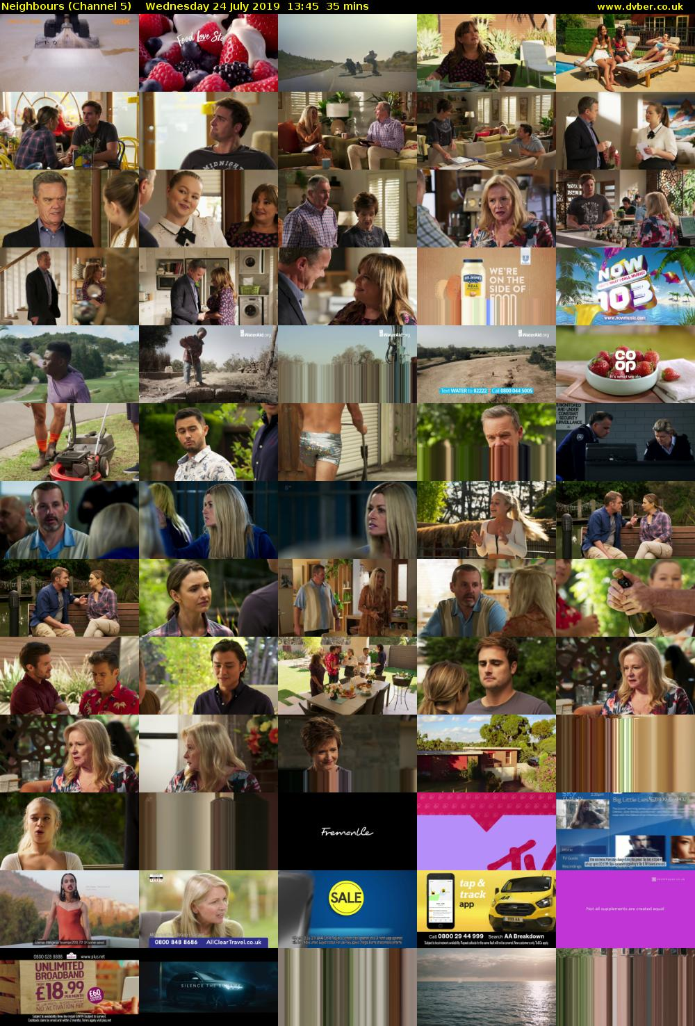 Neighbours (Channel 5) Wednesday 24 July 2019 13:45 - 14:20