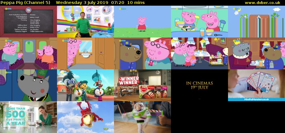 Peppa Pig (Channel 5) Wednesday 3 July 2019 07:20 - 07:30