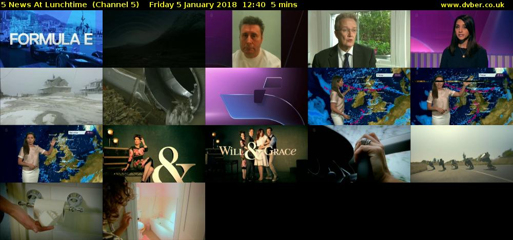 5 News At Lunchtime  (Channel 5) Friday 5 January 2018 12:40 - 12:45