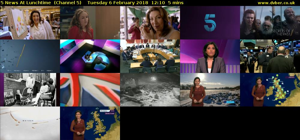 5 News At Lunchtime  (Channel 5) Tuesday 6 February 2018 12:10 - 12:15