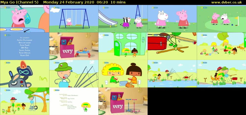 Mya Go (Channel 5) Monday 24 February 2020 06:20 - 06:30