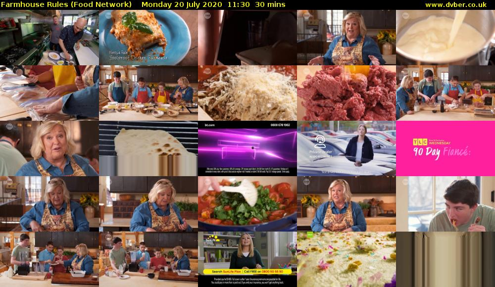 Farmhouse Rules (Food Network) Monday 20 July 2020 11:30 - 12:00