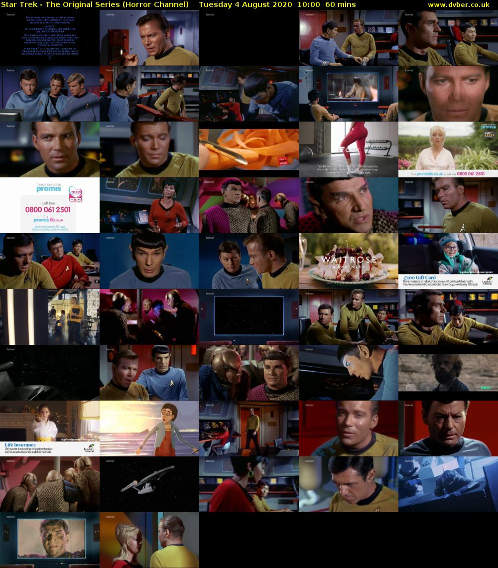 Star Trek - The Original Series (Horror Channel) Tuesday 4 August 2020 10:00 - 11:00