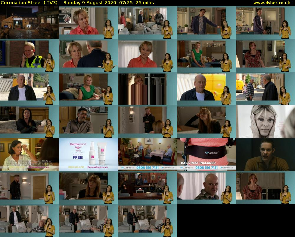 Coronation Street (ITV3) Sunday 9 August 2020 07:25 - 07:50