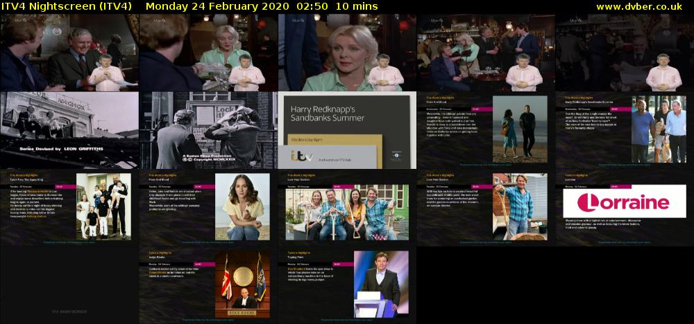 ITV4 Nightscreen (ITV4) Monday 24 February 2020 02:50 - 03:00