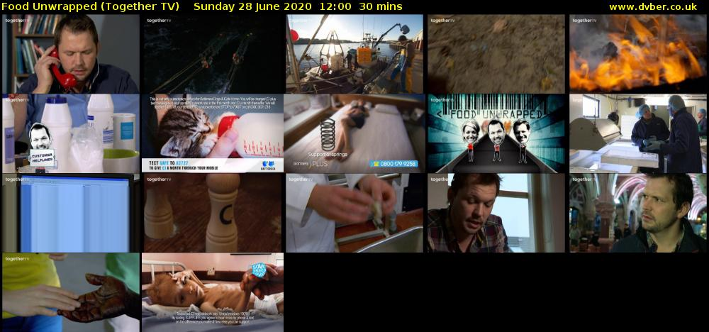 Food Unwrapped (Together TV) Sunday 28 June 2020 12:00 - 12:30
