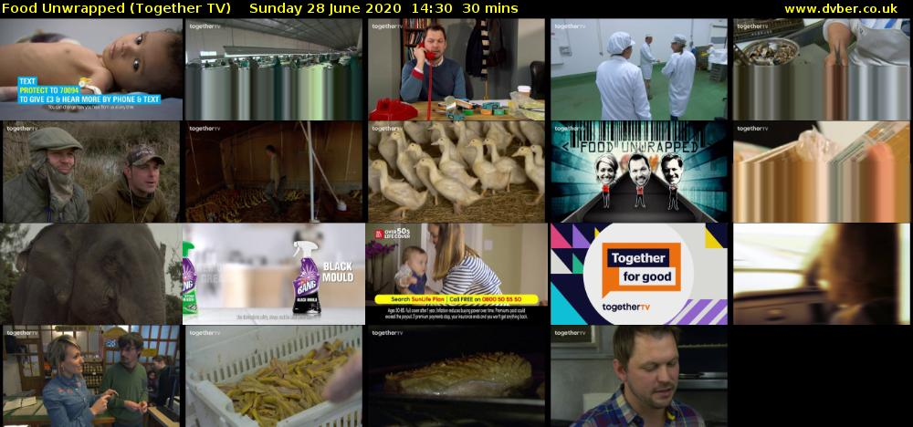 Food Unwrapped (Together TV) Sunday 28 June 2020 14:30 - 15:00